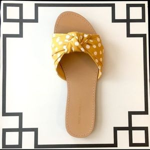 Polka Dot Sandals - Retro Fabric Knotted Mules